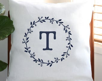 Personalised Monogram Cushion Cover with Gumnut Wreath [Off White]