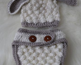 Lamb newborn knitted hat and bloomers
