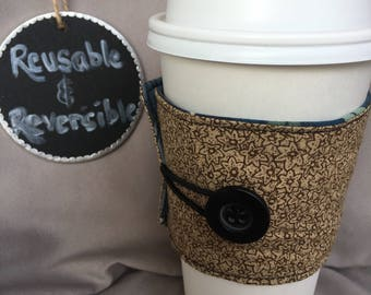 Reusable and Reversible Coffee Sleeve - Navy Floral, Tan Floral, Coffee Lover's Gift, Birthday Gift