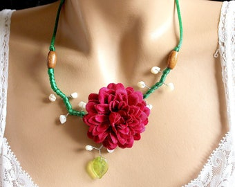 Burgundy Red Peony and green satin necklace