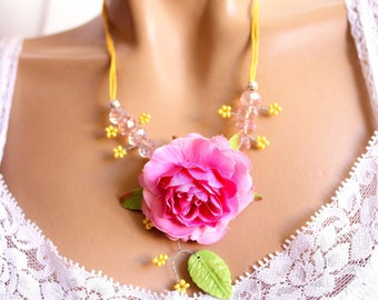 Pink rose flower green leaf and Bohemian Crystal Necklace jewelry.