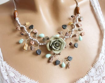 Green gray pink cold porcelain necklace
