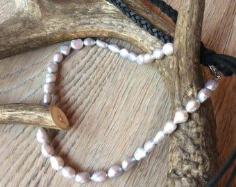 Swarovski Crystal & Deer Antler tip/Freshwater Pearl Leather Wrap Necklace