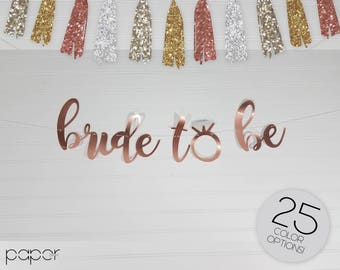 Bride to Be Banner Garland Sign, Bling Ring, Engagement Party Decorations, Bridal Shower, Bachelorette, She Said Yes, Engaged Custom Glitter