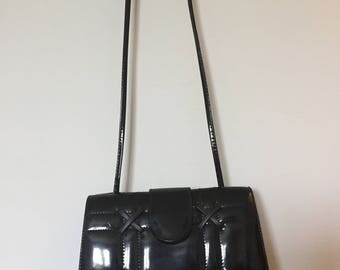 Glossy Black Pleather Clutch Purse with Shoulder Strap