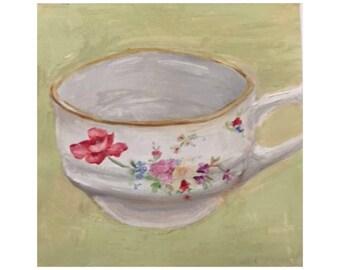 Floral teacup oil painting