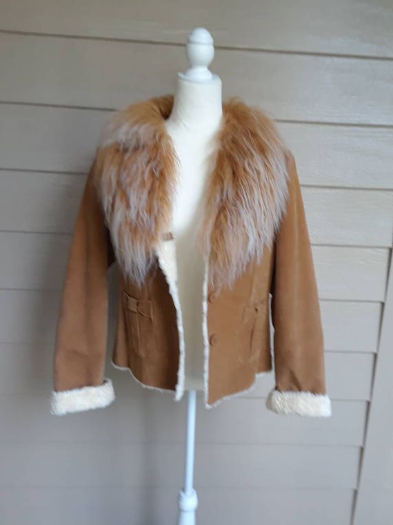 70's Inspired Suede Faux Fur Jacket
