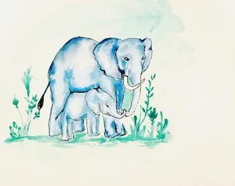 Whimsical watercolor of elephants