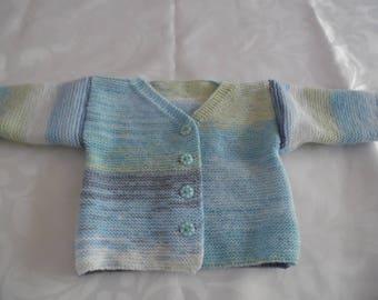 Cardigan neckline baby point in gradient blue size 6 months