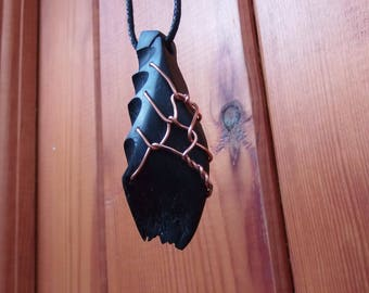 Bog oak necklace, wooden jewellery, (S91)