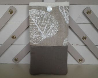 Taupe linen and linen fabric and white glasses case