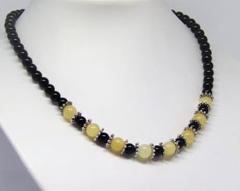 Necklace black onyx and yellow calcite
