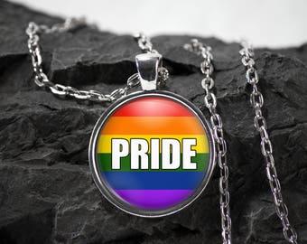Gay Pride Glass Pendant LGBT necklace Rainbow jewelry photo pendant art pendant photo jewelry art jewelry