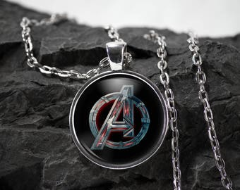 Avengers Glass Pendant avengers necklace avengers jewelry Marvel Comics photo pendant art pendant photo jewelry art jewelry silver