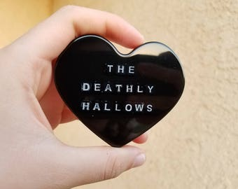 Black and White Deathly Hallows Heart Brooch