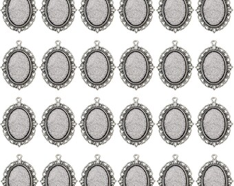 24 PCS Bezel Pendant Trays Oval Cabochon Settings Trays Pendant Blanks, Silver