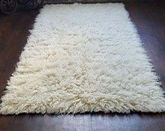 Vintage Genuine Wool White Flokati Rug / Handwoven Shaggy Rug Kilim / Sofa  Spread/ Bed