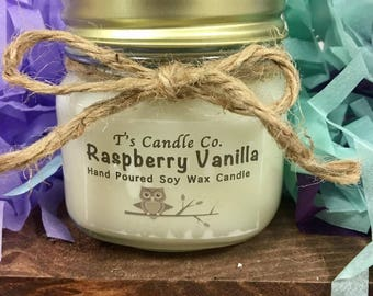Soy Wax Candle, Raspberry Vanilla, All Natural, Hand Poured, Sweet, Dessert, 40 hours