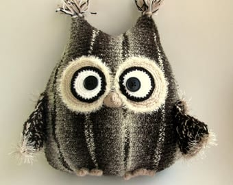 Pillow-toy owl, Knitted Pillow, Owl Stuffed Toy, gift, coffee with milk, gift man