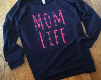 Mom Shirt / Off the Shoulder Shirt / Next Level / Mom Life / Crew Neck / light weight sweatshirt / flannel HTV / fall mom shirt
