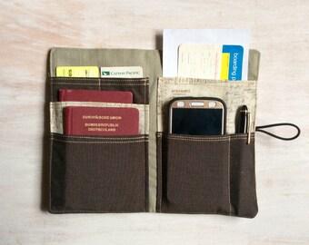 """Passport holder """"wanderlust with zipper"""" travel organizer"""