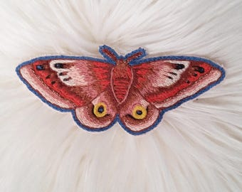 Hand Embroidered Io Moth Patch - Sew on Patch, Textile Art, Hand Stitched, Moth, Entomology