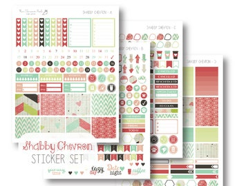 EC Shabby Chevron Planner Stickers, Sticker Kit, Weekly, EC Vertical Planner Stickers, Monthly Sticker Set by The Clever Owl Paper Co.