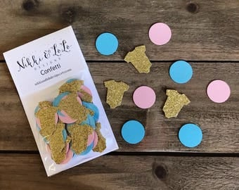 Gender Reveal Confetti, Gender Reveal Decorations, Baby Shower Confetti, Pink and Blue Baby Shower Confetti, Gold Confetti, He or She,