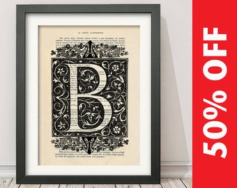 The Letter B Vintage French Alphabet - Mixed Media Art Dictionary Page Book Art Print - N002