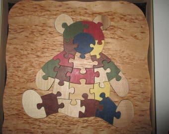 puzzle nounours en bois