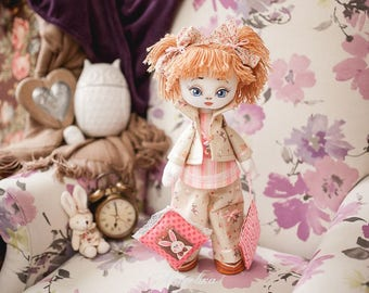 "Doll Making Kit, Set for sewing doll, Textile doll ""Sonia"", Set for textile doll, Handmade doll, Sewing kit"