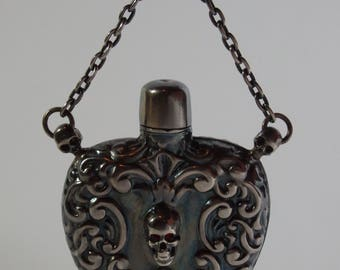 Museum Antique Silver Doctor's Poison Bottle-Pendant With Memento Mori Skulls-Victorian Era-Late 19th Century