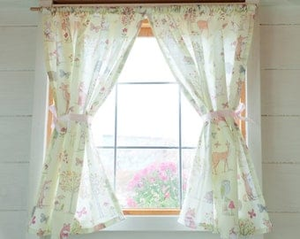 Lime woodland scene playhouse curtains