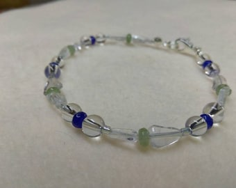 Beaded bracelet Clear Quartz Blue Jade and Green Jade