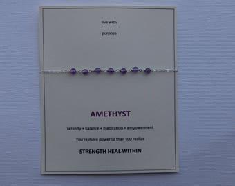 Amethyst sterling silver centered gem bracelet