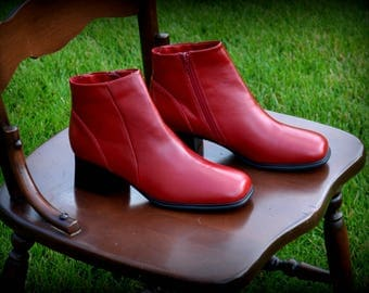 Red Square Toe Booties