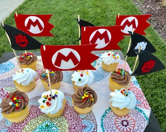 12 Mario & Bowser Toppers | Super Mario Party | Birthday Cake Topper | Cake Decorating Supply | Bowser Cupcake Topper | Bowser | Super Mario