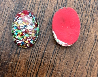 Vintage Glass Lampwork Cabochon Red Multi Opal 18 x 13mm Oval