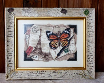 Framed Cross Stitched Picture, Memories Travel, Cross stitch, Textile picture, Paris, Eiffel Tower, Butterfly, Home decor, Cross stitch gift