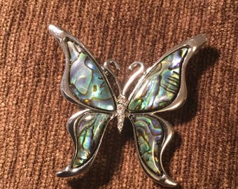 Butterfly abalone hat pin