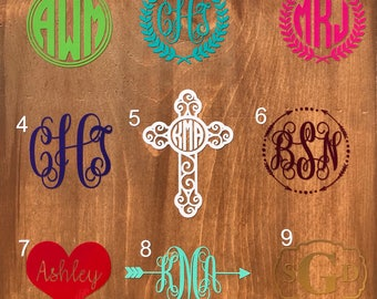 Monogram decals for cups/mugs/Yeti/Rtic/cars/phonesre FREE SHIPPING!