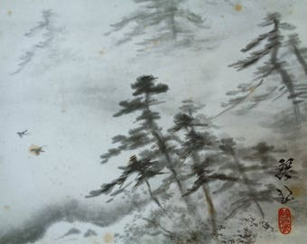 VJ536 :Painting on a shikishi board, Old Japanese ink painting on a shikishi board'' Landscape'',Artist sign