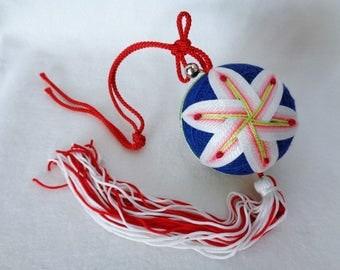 1281 : Temari ball,Japanese hanging Temari ball with tassels and bell,Lucky charm ball,Temari toy decorative ball,hand made in Japan