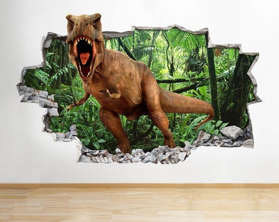 H173 T Rex Dinosaurs Cool Smashed Wall Decal Poster 3d Art