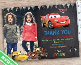 Disney Cars Thank You Card - Cars Thank You Card - Cars Birthday Party