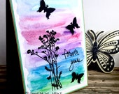 Forever yours watercolour handmade card - artist card with butterflies - for man or woman - creative design card