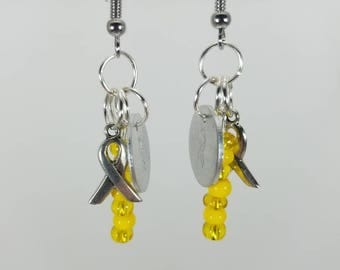 Yellow Cancer Awareness dangle earrings