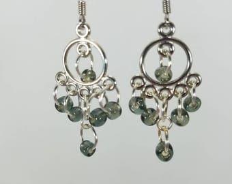 Clear green beaded dangle earrings