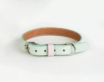 Pistachio green handmade leather Dog collars