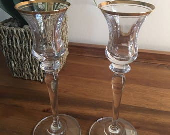 Vintage Makisa Wine Glasses Crystal Jamestown Gold Rim